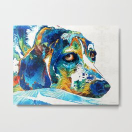 Colorful Beagle Dog Art By Sharon Cummings Metal Print