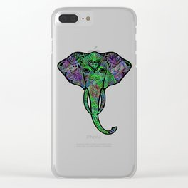 Psychedelic Elephant Sugar Skull Surreal Trippy Abstract Art Clear iPhone Case