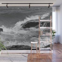 Waves on Rocks Wall Mural