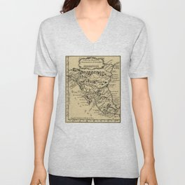 Vintage Map of Nicaragua and Costa Rica (1764) Unisex V-Neck