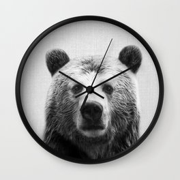 Bear - Black & White Wall Clock