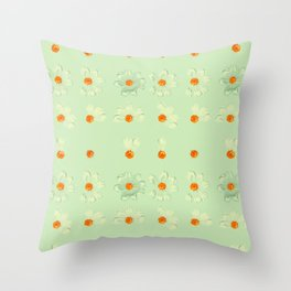 Mint Green Whimsical Real Daisy Flowers Pattern Throw Pillow