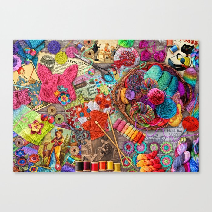 Vintage Yarn & Thread Canvas Print