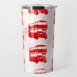 Grunge London Bus Pattern Travel Mug