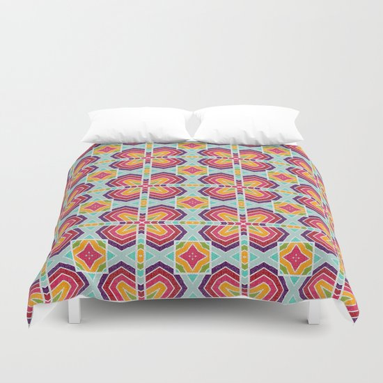 Colorful shapes pattern Duvet Cover