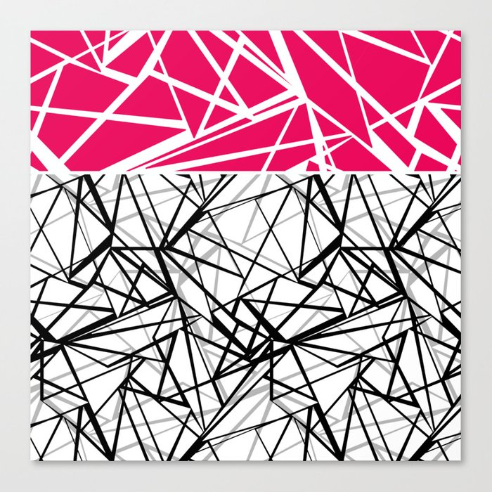 Black and white abstract geometric pattern with red inlay . Canvas Print