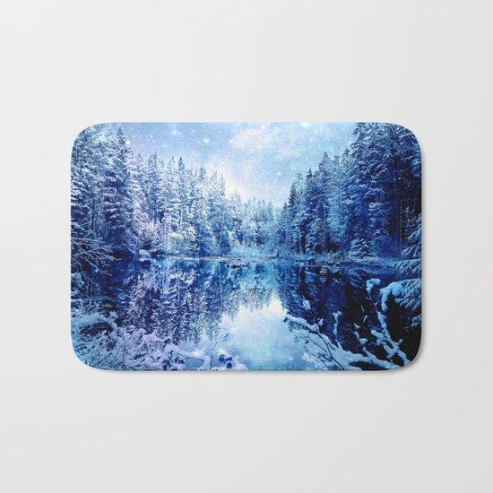 Blue Winter Wonderland : Forest Mirror Lake Bath Mat
