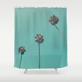 Four Palm Trees, Oceanside, Ca Shower Curtain