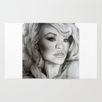 rihanna Area & Throw Rugs featuring Rihanna  by Ellie Wilson Designs