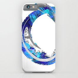 White And Blue Abstract Art - Swirling 4 - Sharon Cummings iPhone Case