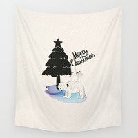 merry christmas Wall Tapestries featuring Merry Christmas! by Marco Puccini