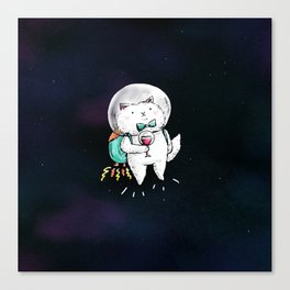 Space Kitty - Wine Time Canvas Print