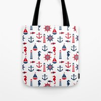 navy Tote Bags featuring Navy by Valmo. Surface pattern design by Valeria