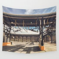 pocket fuel Wall Tapestries featuring Fuel Station by David Rasura
