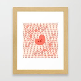 Chevron Love Peach Framed Art Print