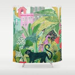 Jungle Black Cat Shower Curtain