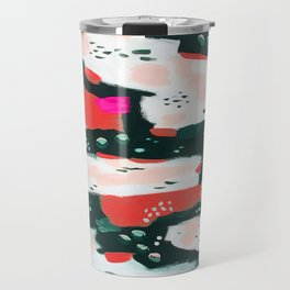 Spotted Abstract in Hot Red-Pink Travel Mug