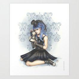 Gabby - Gothic girl w/ doll Art Print