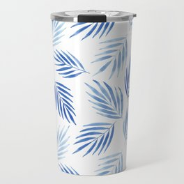Tropical areca palms pattern in blue Travel Mug