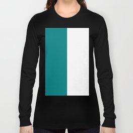 White and Dark Cyan Vertical Halves Long Sleeve T-shirt