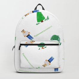 Perm banned! Boy in woods. Backpack