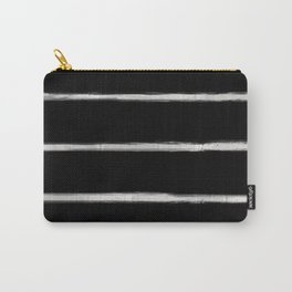 Skinny Strokes Gapped Horizontal Off White on Black Carry-All Pouch