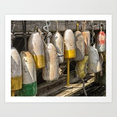 Old buoys at the dock Art Print