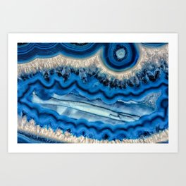 Blue agate slice wave Art Print