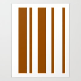 Mixed Vertical Stripes - White and Brown Art Print