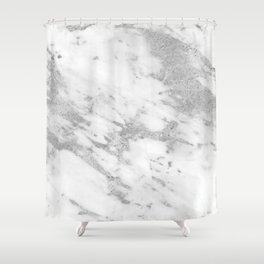 Marble - Silver and White Marble Pattern Shower Curtain