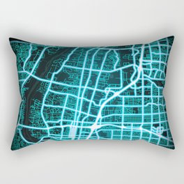 Albuquerque, NM, USA, Blue, White, Neon, Glow, City, Map Rectangular Pillow