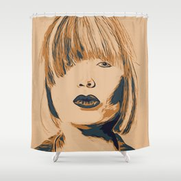 Funky Lady Green #PopArt Shower Curtain
