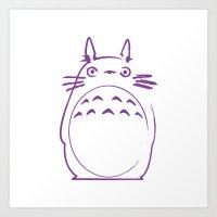 hayao miyazaki Art Prints featuring STUDIO GHIBLI HAYAO MIYAZAKI - MY NEIGHBOR TO TO RO by The Fugu Project