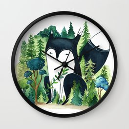 Black Fox Wall Clock