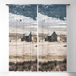Grit - Weathered Barns in Mountain Valley on Autumn Day in Montana Blackout Curtain