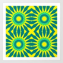 Green & Yellow Pinwheel Flowers Art Print