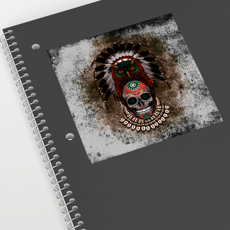 Indian native owl sugar skull sticker by digitalizedteam society6