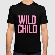Wild Child Pink Typography Black Mens Fitted Tee MEDIUM