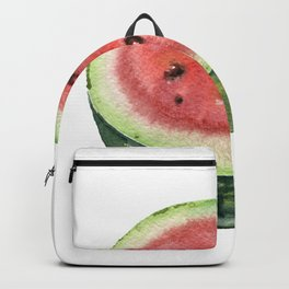 Watermelon cut in half. Watercolor hand-drawn. Backpack