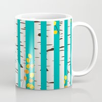 birch Mugs featuring Birch wood by Rceeh
