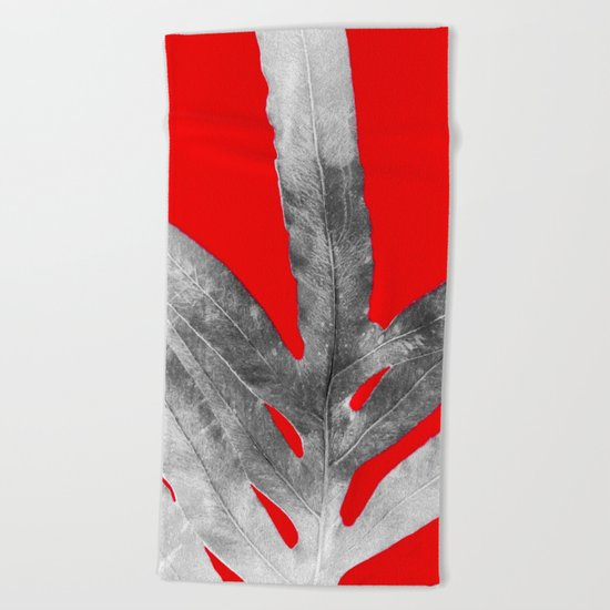 Green Fern on Red Inverted Beach Towel