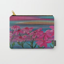 Pink Gerbera Daisies on Burlap Carry-All Pouch