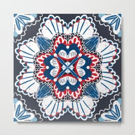 Red white blue symmetrical Moroccan inspired summer party red white blue pattern Metal Print