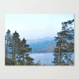 Pine Trees at Thirlmere, Lake District, Cumbria, UK Watercolour Canvas Print