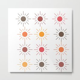 Earth Tone Suns Pattern Metal Print