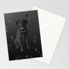 Black Labrador Retriever Paw Prints Stationery Cards