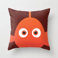 finding nemo Throw Pillows featuring PIXAR CHARACTER POSTER - Nemo - Finding Nemo by Marco Calignano