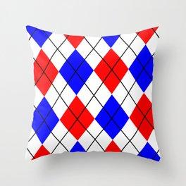 Red And Blue Argyle Design Throw Pillow