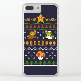 Mario Christmas Clear iPhone Case