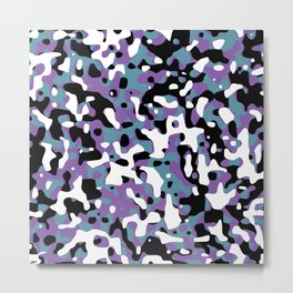 Uncovered Camouflage Purple And Turquoise Metal Print